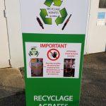 Signalétique et caisson de protection pour le recyclage d'agrafes